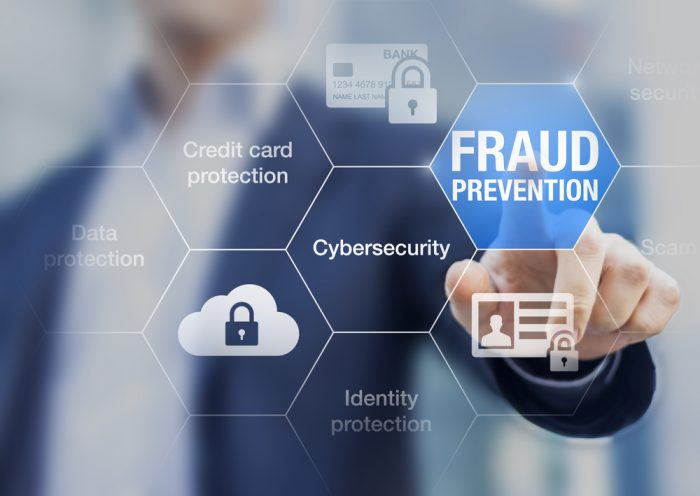 Fraud prevention text in white